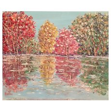"""Impressionist Impasto Autumn Trees Landscape "", Original Oil Painting by artist Sarah Kadlic, 24"" x 20"" Stretched Canvas"