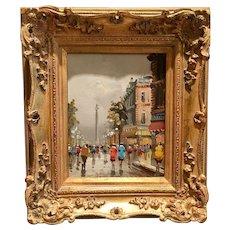 Beautiful Midcentury Vintage 1950s/60s Antonio DeVity Original Oil Painting - Paris City Street Scene