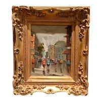 Beautiful Midcentury Vintage 1950s/60s Antonio DeVity Original Oil Painting - Paris Street Corner Scene