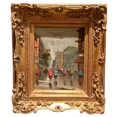 Beautiful Midcentury Vintage 1950s/60s Antonio DeVity Original Oil Painting - Paris Street Corner Scene