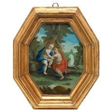 Antique 18th Century Baby Jesus, St. John the Baptist Reverse Oil Painting