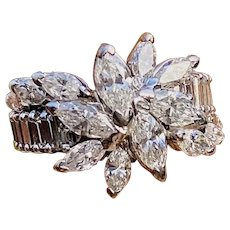 Stunning Vintage 1950s Estate Platinum 4.00ct Marquise Baguette Diamond Cluster Ring