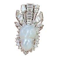 Art Deco 1940s Vintage 18k Gold 2.70 ct Diamond Baroque Pearl Pendant