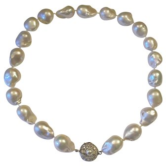 Stunning Estate 14k Gold Large Baroque Cultured Pearl Necklace with Diamond Clasp