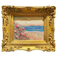 """Abstract Wildflowers Seascape "", Original Oil Painting by artist Sarah Kadlic, 15""x13"" Gilt Leaf Ornate Frame"