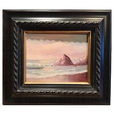 Outstanding Vintage Signed Seascape Beach Ocean Original Oil Painting Gilt Frame.