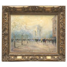 Antique Retro Impasto French Paris France Original Oil Street Painting - Herbert Beck, 1900s