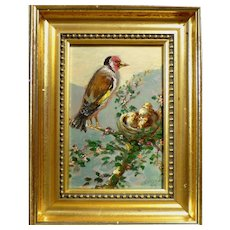 Beautiful Mid Century Bird Babies Original Oil Painting Signed Listed Danish Art
