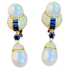 Vintage Estate 18k Gold 2.00ctw Blue Sapphire Diamond Pearl Dangle Drop Earrings