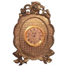 """Super Cute 5"""" Stylebilt Brass Gilt Battery Operated Clock"""