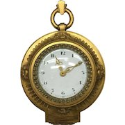 Lovely Chic Art Deco Brevete (Bagues, Paris) Gilt Brass/Bronze D'ore Wall or Easel Clock for your Hall Chest!