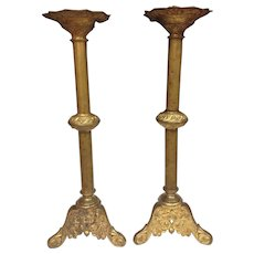 Stunning Baroque Bronze D'ore Gilt Alter Large Candlesticks, 24""