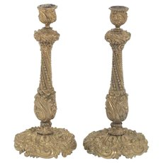 Beautiful Pair of Gilt D'Ore Bronze Antique Candlesticks, 19th Century 11""