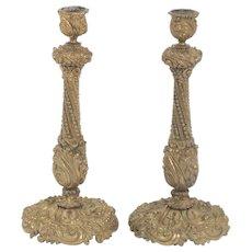 "Beautiful Pair of Gilt D'Ore Bronze Antique Candlesticks, 19th Century 11"""