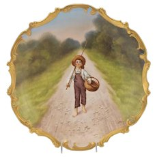 """Striking Large 15"""" Gilt Hand-Painted Boy Child Antique Blakeman & Henderson """"Baumy"""" Limoges Charger Plate / Wall Plaque 1890-1900s"""