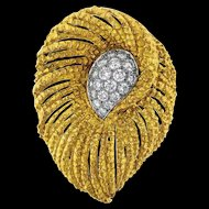 Stunning Impressive Vintage 1960s CARVIN French 18k Gold Yellow, Platinum 950 and 1.75cttw G/VS1 Diamond Leaf Brooch/Pin