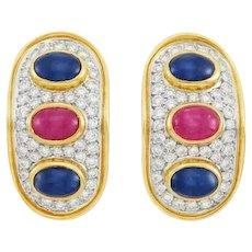 Vintage Estate 14k Gold 1.80ct VS Diamond Sapphire Ruby Cabachon Drop Earrings