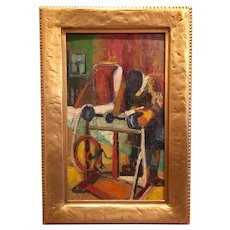 "Gorgeous Colorful Retro Mid Century Modern ""Man at Saw Table"", 20th Century School, Textured Oil on Board."