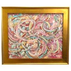 """Abstract Expressionist - Celebration"", Original Oil Painting by artist Sarah Kadlic, 18x24"" Gilt Wood Frame"