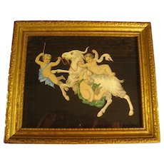"""Beautiful Vintage Watercolor Pompeii Style Frieze Painting of Cherubs & Goats in Gilt Italian Frame sized 8x10"""""""