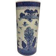 """Gorgeous Antique 1900 Chinese Canton Style Blue & White Heavy Porcelain Brush Pot Cylindrical Vase, 11"""""""