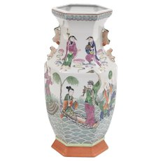 Stunning Chinese Porcelain Hexagonal Famille Vert Vase of Eight Immortals, Jiaqing Marks (1796-1820), 16""