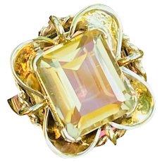 Vintage Estate 14k Gold 5.75ct Emerald Cut Citrine Ring
