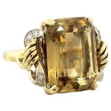 Stunning Handmade 18k Gold Citrine 12ct Old European Diamond Ring