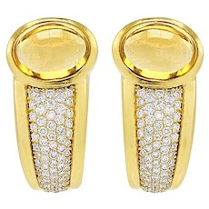 Stunning Pair of Estate 1980s High End 16 ctw Citrine and Diamond Earrings in 18k Gold
