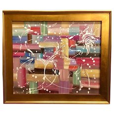 """""""Abstract Expressionist Color Blocking"""", Original Oil Painting by artist Sarah Kadlic, 24x20"""" Gilt Leaf Wood Frame"""
