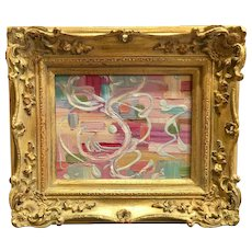 """Abstract Expressionist Color Weave"""", Original Oil Painting by artist Sarah Kadlic, 8x10"""" Gilt Wood Frame"""