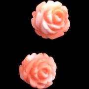 Vintage Estate 14k Gold Genuine Pink Coral Large Stud Rose Earrings