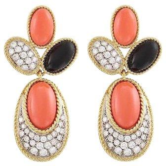 Stunning Estate 18k Gold Coral Onyx 1.50ct G/VS Dangle Pendant Earrings