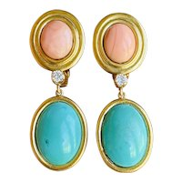 Vintage Estate 18K Yellow Gold Coral, Turquoise and Diamond Drop Pendant Earrings