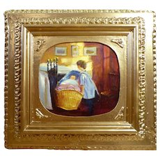 Vintage Danish Fine Art Original Oil Painting with Children - Baby - Boy / Girl