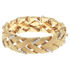 Impressive 18k Gold Vintage David Webb 1960s 3.00cttw G VS Diamond Woven Bracelet