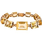 Stunning 17/18k Gold Vintage Estate 1940s 1950s Citrine Gemstone Bracelet, 30 grams