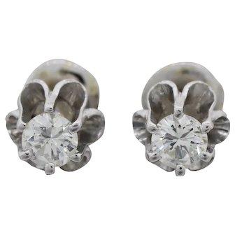 Antique Art Deco 1930's Brilliant White Diamond Stud 14k Gold Earrings 0.40 cttw G-H VS2