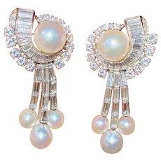 Important Vintage 1940s-50s Platinum 5.50ct VS Diamond Pearl Dangle Earrings