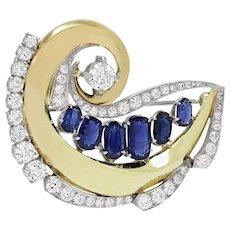 Impressive Retro 1940s Art Deco 8.30 ct European Diamond Sapphire Brooch Pin