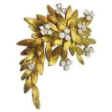 "Estate ""Des In France"" 18K Gold 1.45ct VS Diamond Brooch Pin Pendant for Necklace"