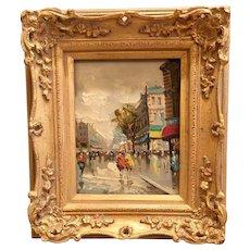 Beautiful Midcentury Vintage 1950s/60s Antonio DeVity Original Oil Painting - Paris Street Scene