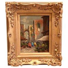 Beautiful Midcentury Vintage 1950s/60s Antonio DeVity Original Oil Painting - Italian Street Scene