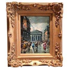Beautiful Midcentury Vintage 1950s/60s French Devity Style Original Oil Painting - Paris Street Scene