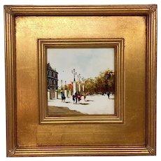 Vintage Mid-Century Antonio DeVity Original Oil Painting in Beautiful Updated Gold Gilt Frame - Paris Street Scene
