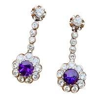 Stunning Vintage Estate Platinum 3.07ctw Amethyst Diamond Halo Dangle Earrings