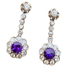 Stunning Vintage Estate Platinum 3.07ctw Amethyst Diamond Halo Dangle Earrings