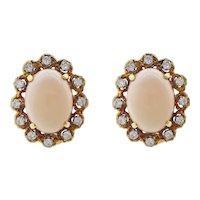 Vintage Estate 14k Gold Angel Skin Coral 1.50 Carat Diamond Earrings