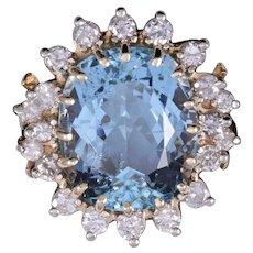 Stunning Large Vintage 1970s Estate 14K Gold 13.7ct Aquamarine Diamond Halo Cocktail Ring