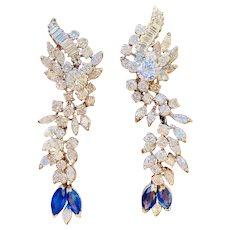 Vintage Estate 18k Gold 7.10ct VS Diamond Blue Sapphire Dangle Pendant Cluster Earrings